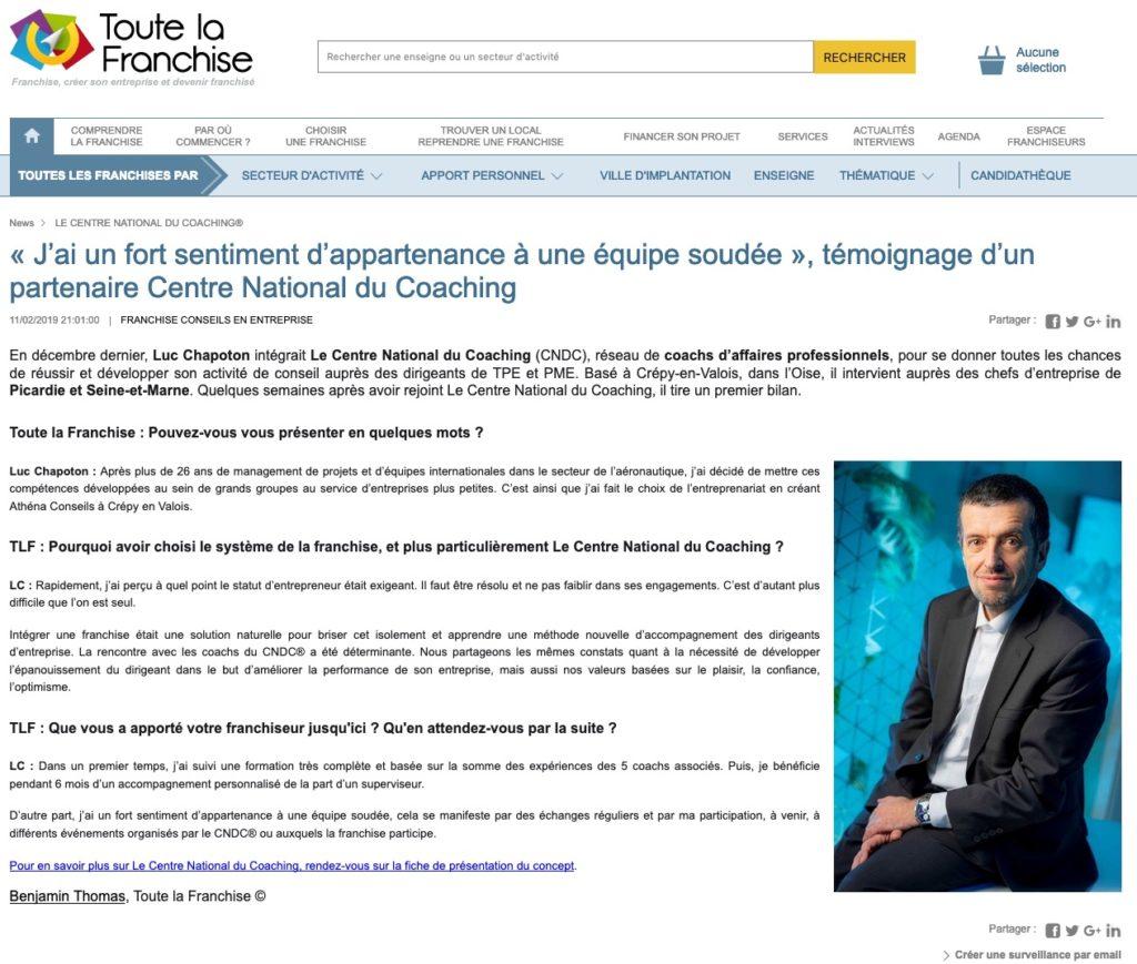 Témoignage Luc Chapoton sur toute-la-franchise.com