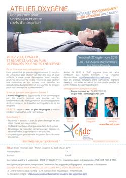 Invitation Atelier Oxygène Lille 27 septembre 2019